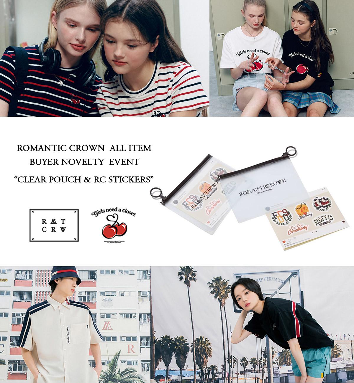 ROMANTIC CROWN(ロマンティッククラウン) ROMANTICパターンをベースしたカジュアルかつクラシックなデザインで人気を集める、韓国次世代ユニセックスブランド。トレンドのスクールスタイルが得意。